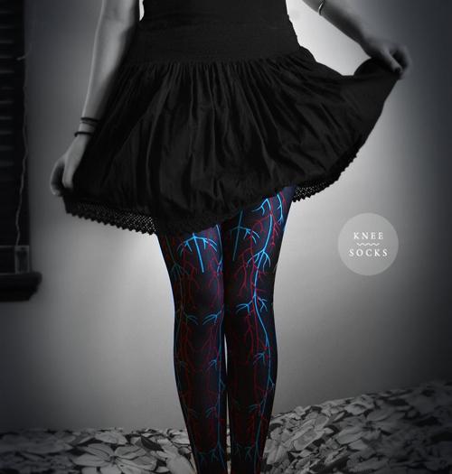 чулки с узорами черно-синими абстракция фото