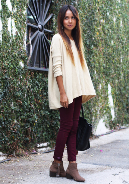 dipuk8-l-610x610-pants-jeans-wine-red-red+jeans-vintage-hipster-beautiful-red+pants-sweater-shoes-boots-ankle+boots-booties