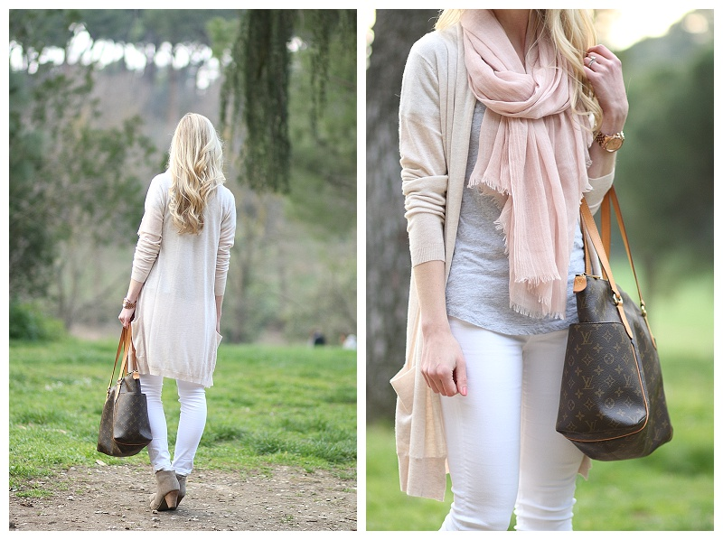 beige-long-maxi-cardigan-Adriano-Goldschmied-white-jeans-neutral-color-mix-for-spring-light-pink-scarf-gray-tee-with-maxi-cardigan-suede-ankle-boots-Louis-Vuitton-totally-mm-tote-Rome-fashion-blogger