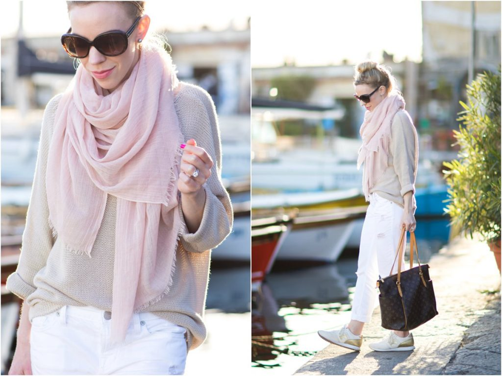 blush-pink-scarf-with-tan-sweater-white-distressed-boyfriend-jeans-Louis-Vuitton-totally-MM-monogram-tote-pink-scarf-spring-outfit