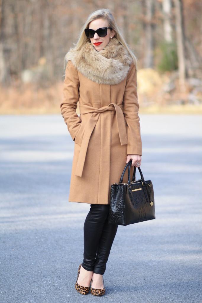 camel-wool-wrap-coat-J.-Crew-wool-wrap-coat-Zara-camel-faux-fur-scarf-fur-snood-leather-pants-Chanel-cateye-sunglasses-leopard-pumps-Brahmin-black-melbourne-small-lincoln-satchel