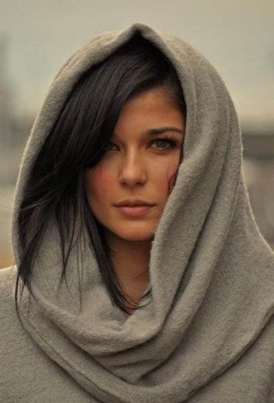 как носить шарф-снуд на голове фото