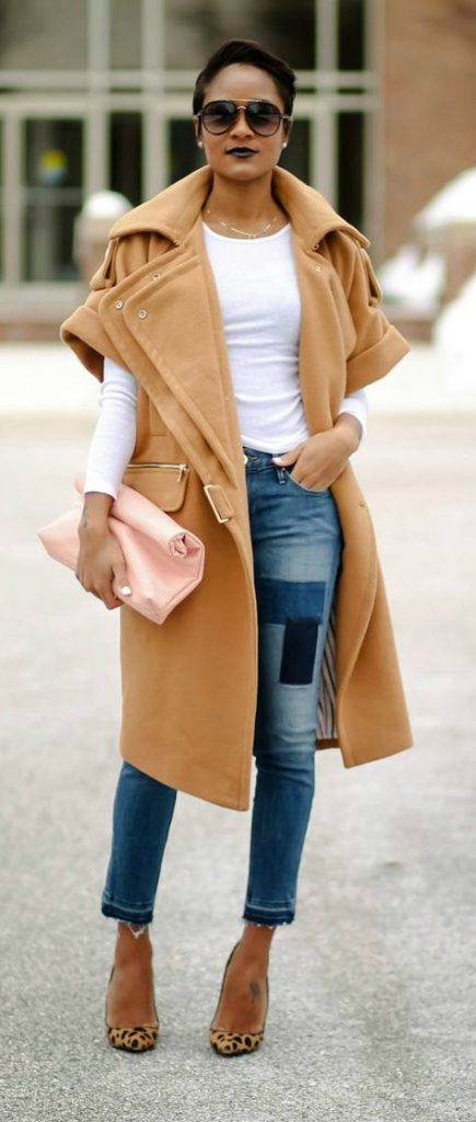 пальто с укороченными рукавами горчичного цвета с чем сочетать фото