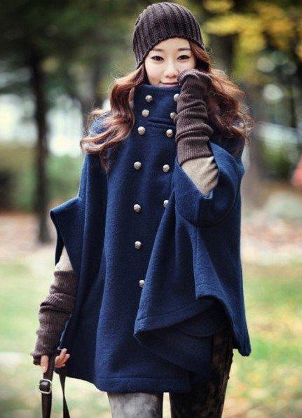 sapphire-blue-stand-up-collar-short-sleeve-coat-peacoat-cloak-coats-women-s-overcoat-free-shipping