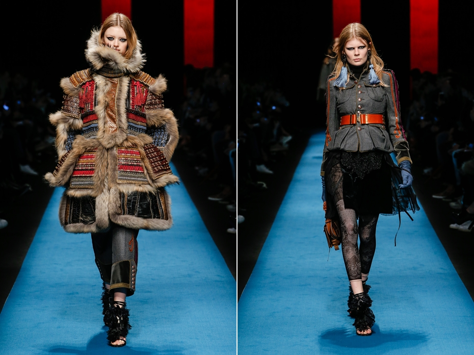 DSquard2, Female model catwalking during the Milano womenswear fashion shows, winter 2016 - 2017, Women ready to wear, Milano