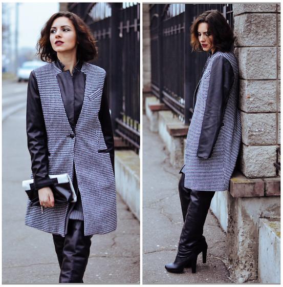 с чем носить кожаные ботфорты на устойчивом каблуке фото с серым пальто с кожаными рукавами