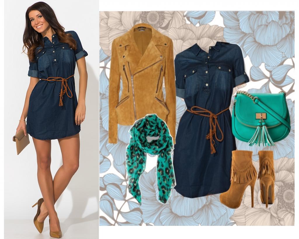 с чем носить джинсовое платье рубашку фото сочетать синее платье-рубашка