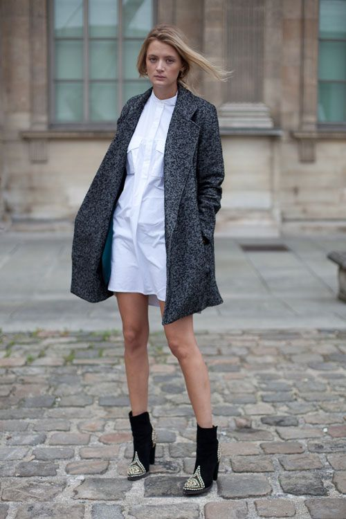 transitional-dressing-shirt-dress-white-dress-fall-whites-grey-coat-ankle-boots-dresses-and-booties-via-harpersbazaar