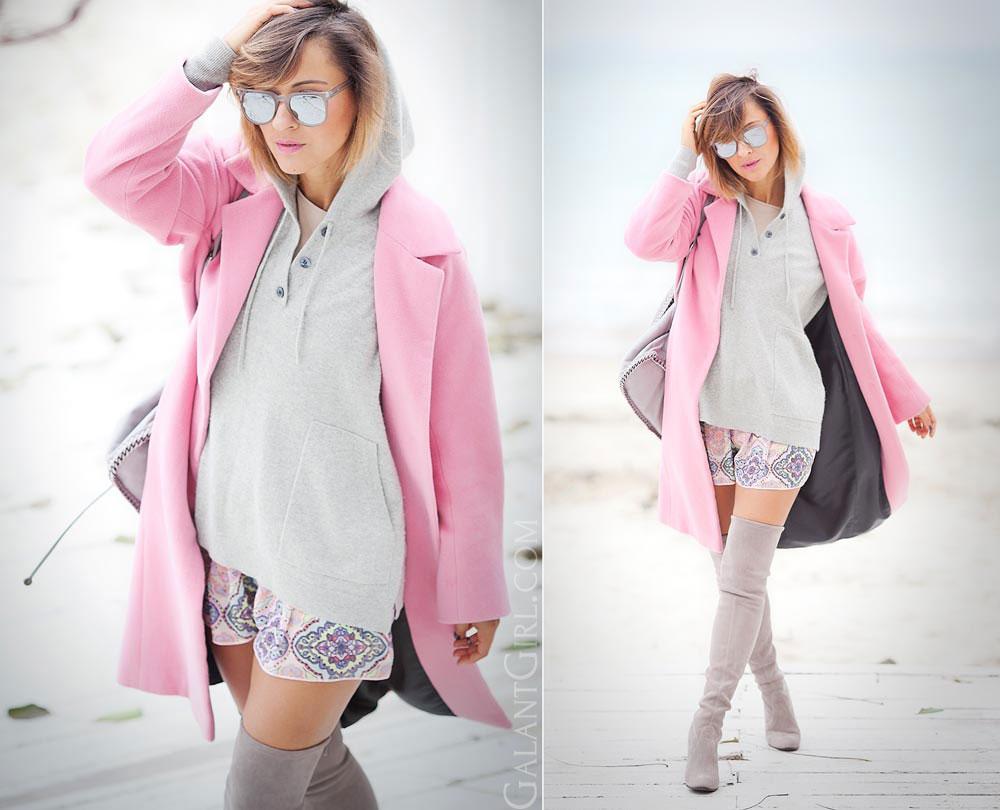 луки с пальто оверсайз розового цвета фото 2017 мода