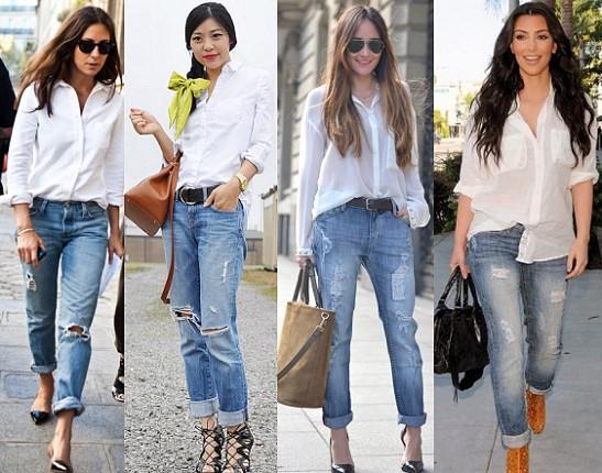 лук с белой рубашкой и джинсами фото