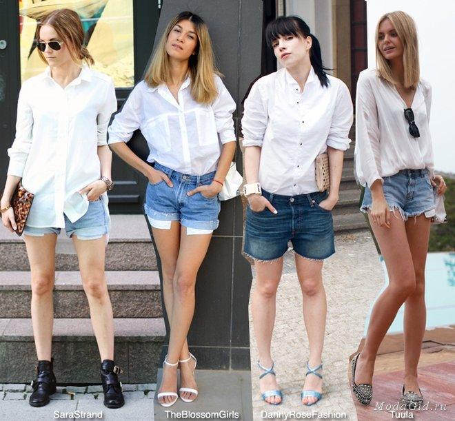 белая рубашка и джинсовые шорты сочетания как носить фото