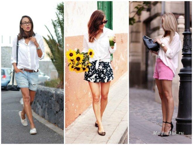 белая рубашка и цветные шорты как носить фото