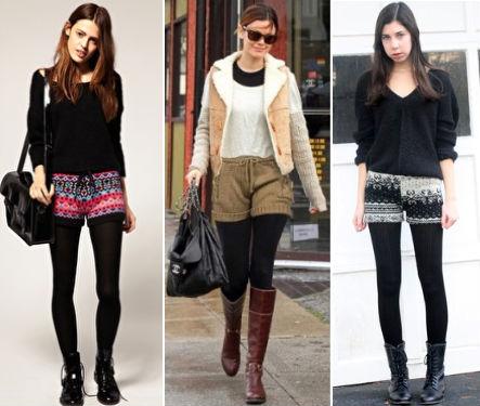 шорты с чем носить осенью фото